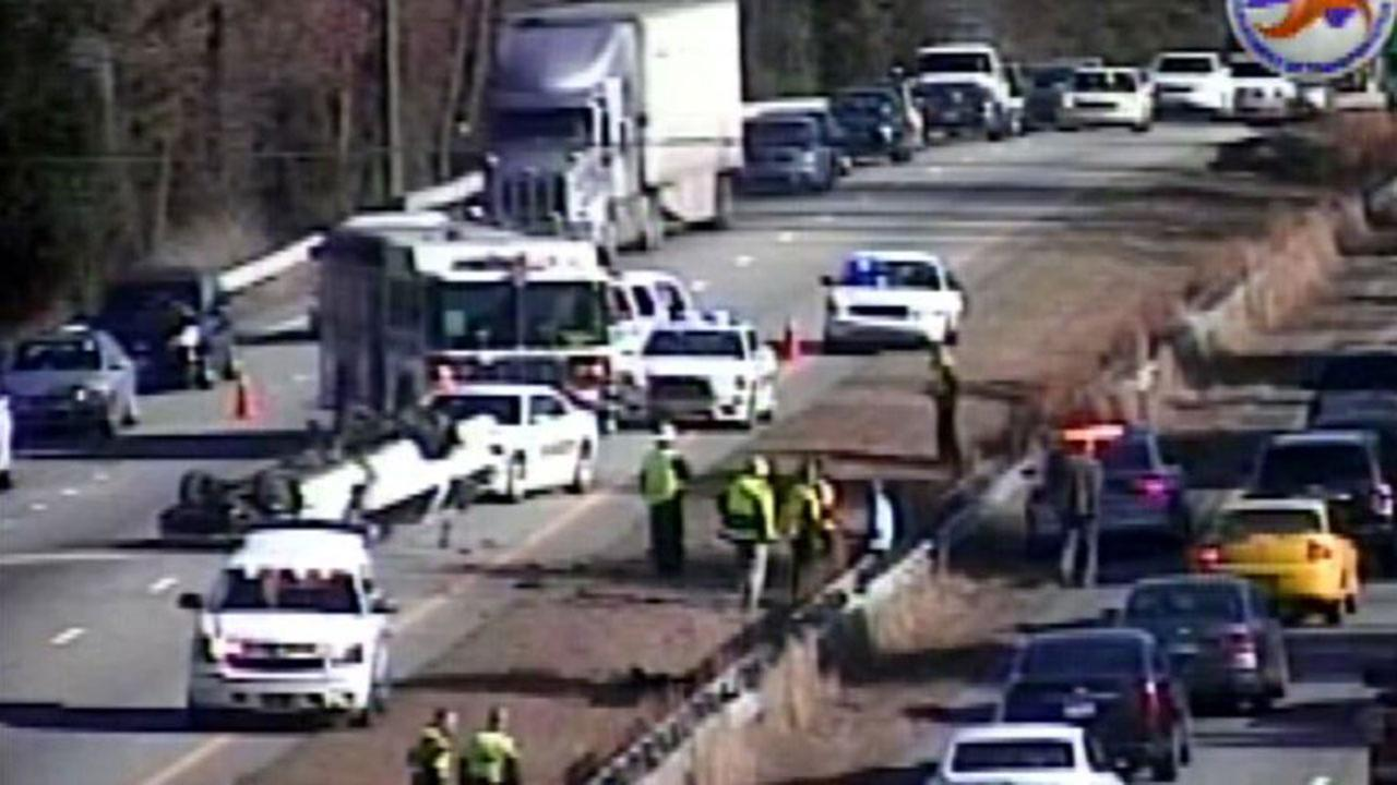 Overturned vehicle blocked two lanes of Interstate 85 in Durham County Thursday morning