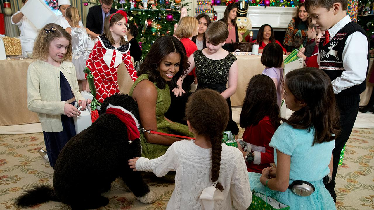 Michelle Obama and pups share holiday decor at White House