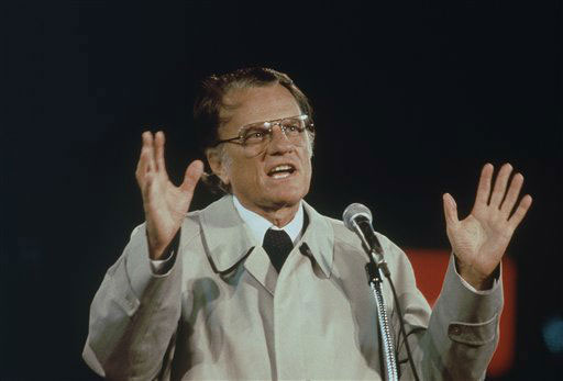 <div class='meta'><div class='origin-logo' data-origin='AP'></div><span class='caption-text' data-credit=''>Billy Graham shown speaking in Tokyo in which he delivered the Christian message, in this predominantly Buddhist Nation, to a crowd of 43,000 at Korakuen Stadium on Oct. 1980.</span></div>