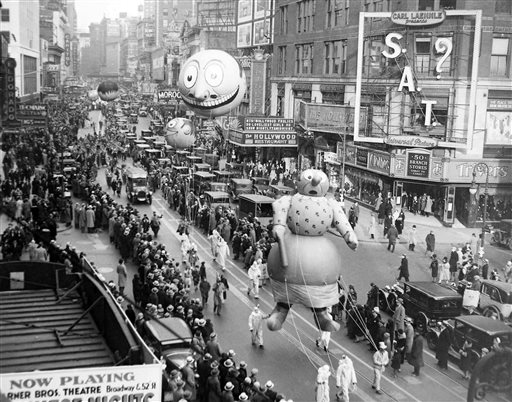 "<div class=""meta image-caption""><div class=""origin-logo origin-image ap""><span>AP</span></div><span class=""caption-text"">The Macy's Thanksgiving Day Parade passes down Broadway in New York on Nov. 27, 1930.  The parade's first giant balloons debuted in 1927.</span></div>"
