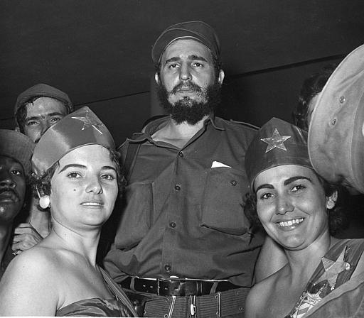 <div class='meta'><div class='origin-logo' data-origin='none'></div><span class='caption-text' data-credit=''>Cuban rebel leader Fidel Castro is greeted as he arrives at Cap Columbia, Havana military headquarters late, Jan. 9, 1959.  (AP Photo)</span></div>