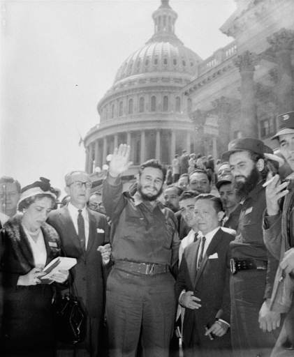 <div class='meta'><div class='origin-logo' data-origin='none'></div><span class='caption-text' data-credit=''>Fidel Castro, fresh from a visit to the Senate Foreign Relations Committee, poses in front of the Capitol April 17, 1959.  (AP Photo)</span></div>