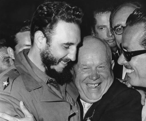 "<div class=""meta image-caption""><div class=""origin-logo origin-image none""><span>none</span></div><span class=""caption-text"">Cuban leader Fidel Castro, left, and Soviet leader Nikita Khrushchev hug at the United Nations in 1962. (AP Photo/Marty Lederhandler)</span></div>"