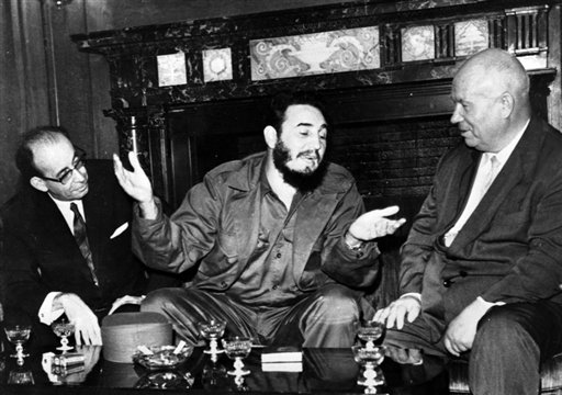 <div class='meta'><div class='origin-logo' data-origin='none'></div><span class='caption-text' data-credit=''>In this Sept. 20, 1960 photo, Cuba's leader Fidel Castro, center, speaks with Soviet Premier Nikita Khrushchev at the United Nations (AP Photo/Prensa Latina)</span></div>