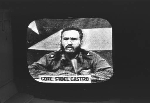 <div class='meta'><div class='origin-logo' data-origin='none'></div><span class='caption-text' data-credit=''>Cuban Prime Minister Fidel Castro replied to President Kennedy's naval blockade over Cuban radio and television, October 23, 1962. (AP Photo)</span></div>