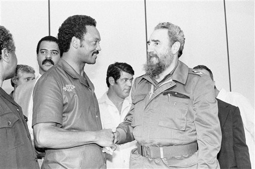 <div class='meta'><div class='origin-logo' data-origin='none'></div><span class='caption-text' data-credit=''>Democratic Presidential candidate Rev. Jesse Jackson and Cuban President Fidel Castro shake hands in Havana, Cuba  June 7, 1984. (AP Photo/J. Scott Applewhite)</span></div>