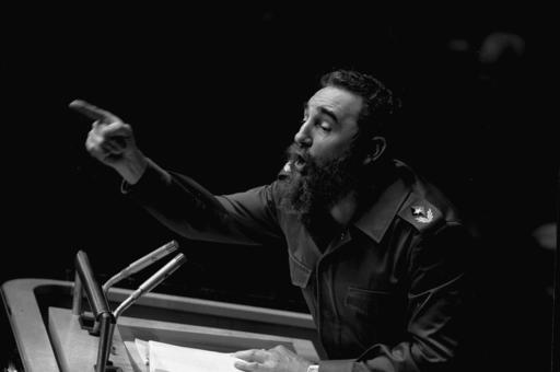 <div class='meta'><div class='origin-logo' data-origin='none'></div><span class='caption-text' data-credit=''>In this Oct. 12, 1979 file photo, Cuban President, Fidel Castro, points during his lengthy speech before the United Nations General Assembly. (AP Photo/Marty Lederhandler, File)</span></div>