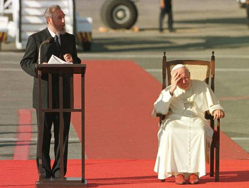 <div class='meta'><div class='origin-logo' data-origin='none'></div><span class='caption-text' data-credit=''>Pope John Paul II listens to a welcoming speech by President Fidel Castro of Cuba, Wednesday Jan 21, 1998 in Havana. (AP Photo/Joe Cavaretta)</span></div>