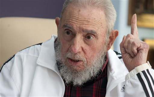 <div class='meta'><div class='origin-logo' data-origin='none'></div><span class='caption-text' data-credit=''>Cuba's Fidel Castro speaks during a meeting with Russia's President Vladimir Putin, in Havana, Cuba in 2014. (AP Photo/Alex Castro)</span></div>