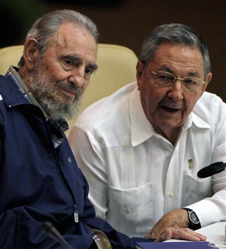 <div class='meta'><div class='origin-logo' data-origin='none'></div><span class='caption-text' data-credit=''>Fidel Castro, left, and Cuba's President Raul Castro attend the 6th Communist Party Congress in Havana, Cuba, Tuesday April 19, 2011. (AP Photo/Javier Galeano)</span></div>