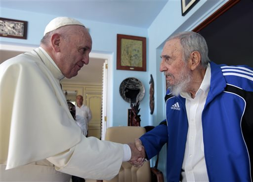 <div class='meta'><div class='origin-logo' data-origin='none'></div><span class='caption-text' data-credit=''>Pope Francis and Cuba's Fidel Castro shake hands, in Havana, Cuba, Sunday, Sept. 20, 2015. (AP Photo/Alex Castro)</span></div>