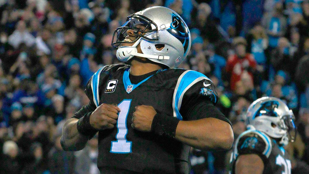 Carolina Panthers quarterback Cam Newton (1) celebrates his touchdown run against the Tampa Bay Buccaneers in the second half of an NFL football game