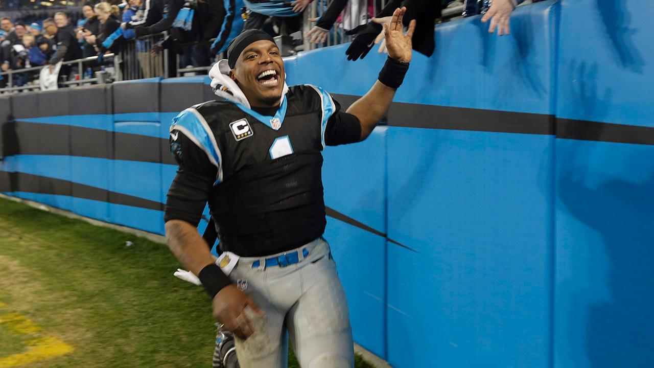 Carolina Panthers Cam Newton (1) celebrates his teams 15-1 regular season record following an NFL football game against the Tampa Bay Buccaneers in Charlotte, N.C.