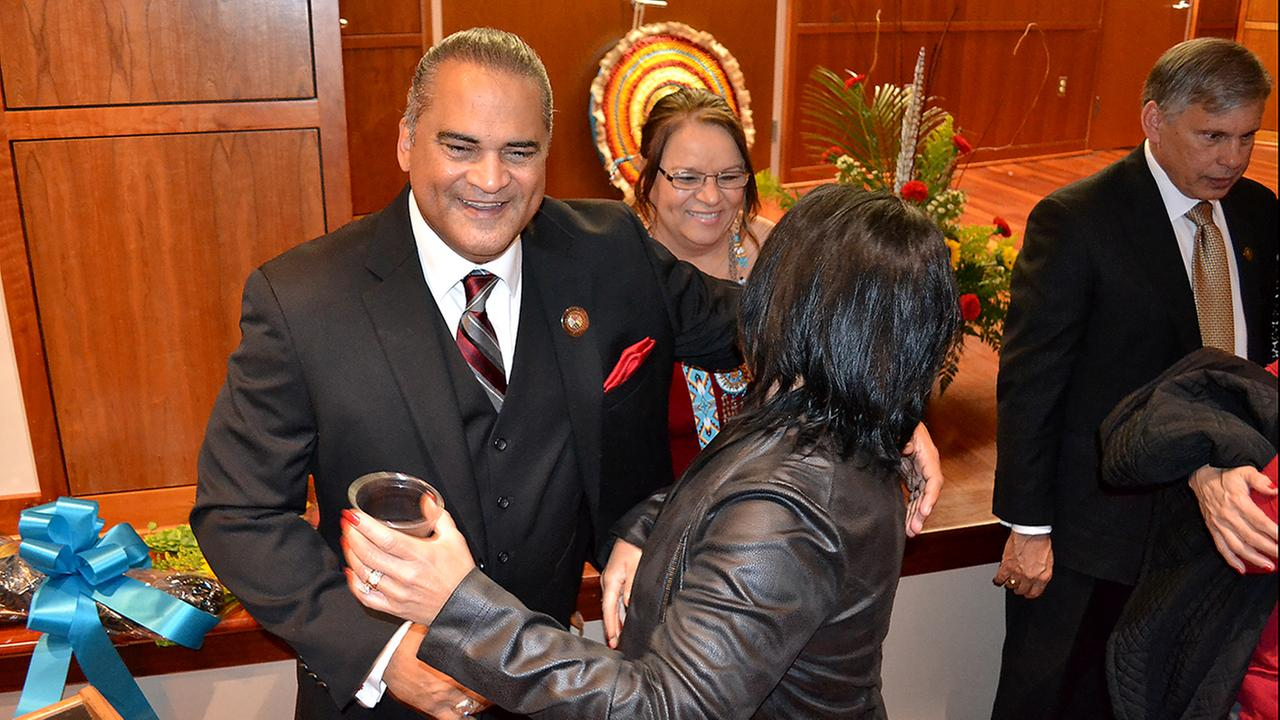 The inauguration for newly elected Lumbee Tribal Chairman Harvey Godwin was held Thursday night at the Givens Performing Arts Center at UNC Pembroke.