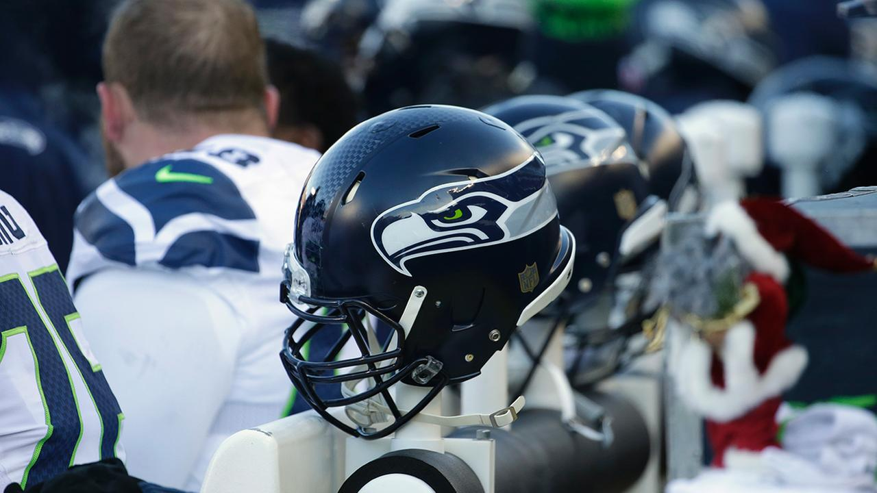A Seattle Seahawks helmet is seen on the sideline during the second half of an NFL wild-card football game against the Minnesota Vikings, Sunday, Jan. 10, 2016, in Minneapolis.