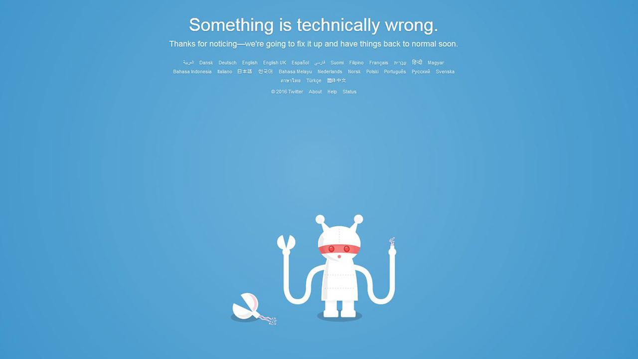 Screenshot of Twitters outage message Tuesday morning