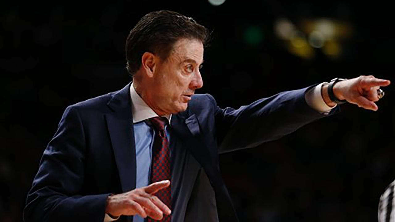 Louisville head coach Rick Pitino reacts in the second half of an NCAA college basketball game Saturday, Jan. 23, 2016, in Atlanta. Louisville won 75-71.