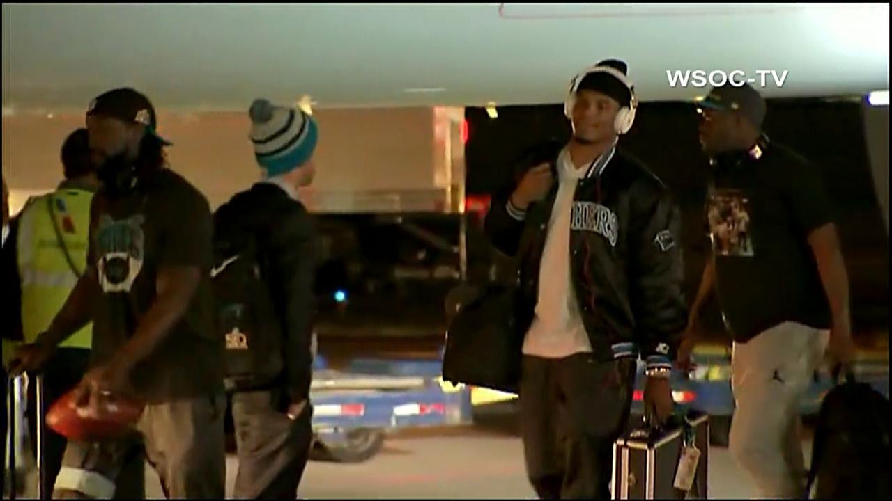 Cam Newton and the Carolina Panthers arrive in Charlotte on Monday following their Super Bowl 50 loss to the Denver Broncos.