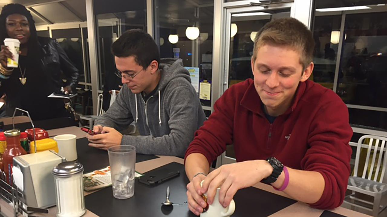 Student Mike Fuller is spending more than a day inside the Waffle House on Hillsborough Street in Raleigh