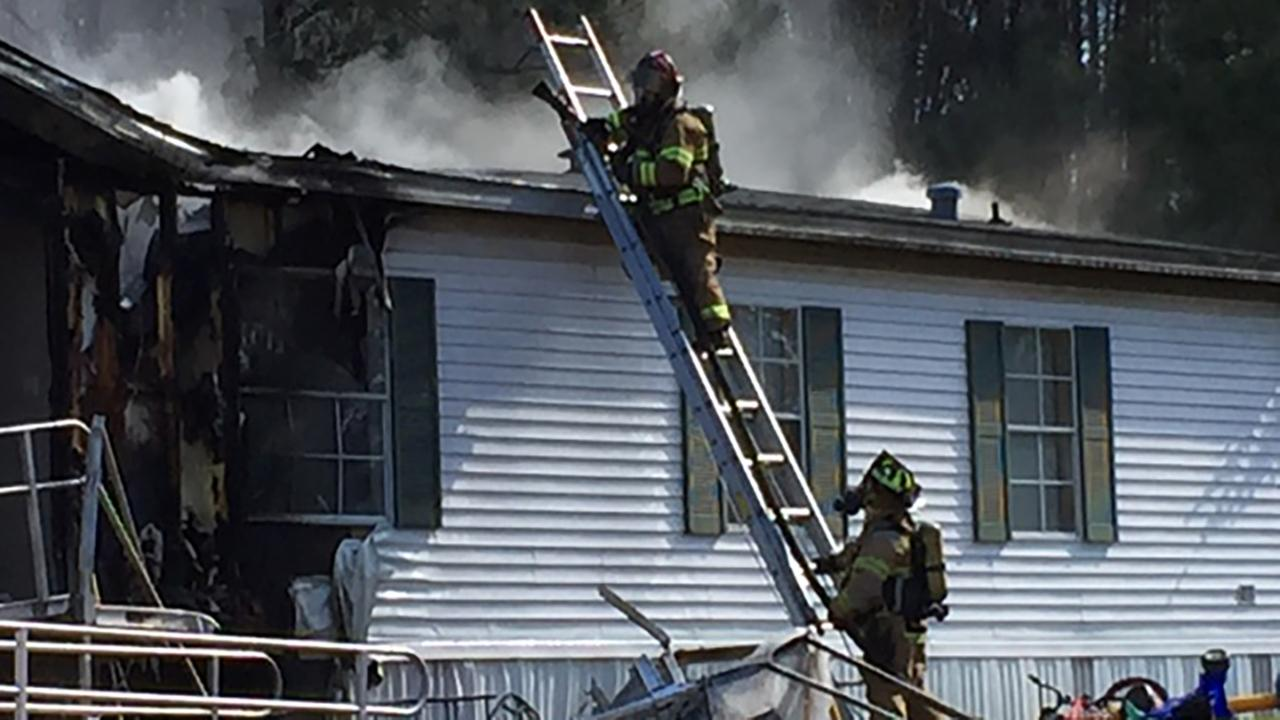 Mobile home fire in Clayton
