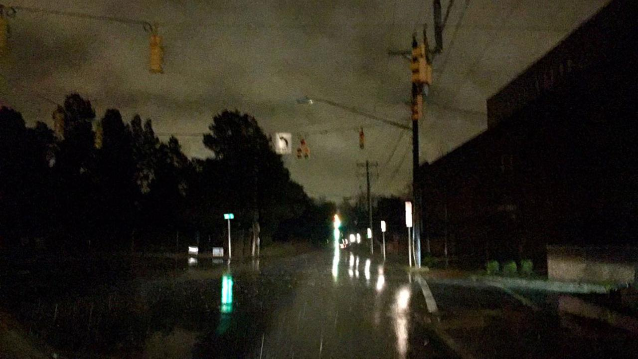 Several streets in Durham with no lights or traffic signals due to a power outage Tuesday morning.