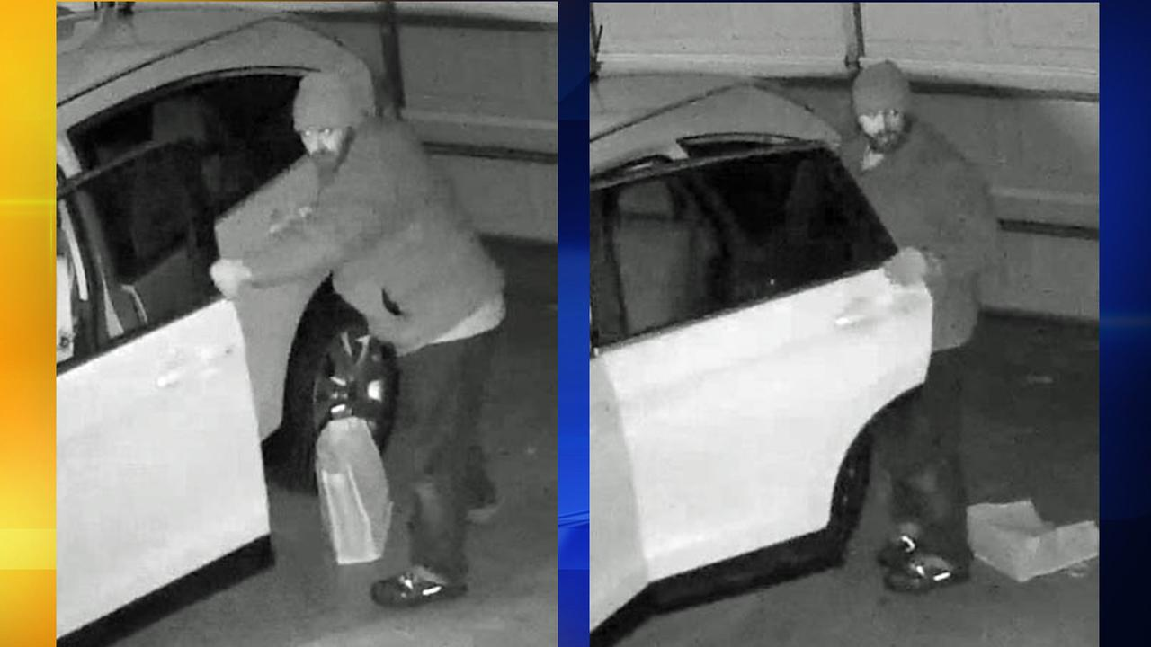 Surveillance photos of a suspect breaking in to cars in Raleigh