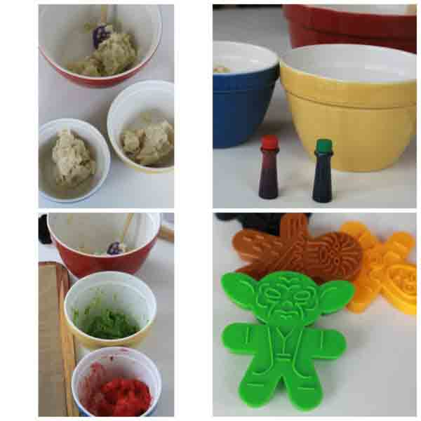 <div class='meta'><div class='origin-logo' data-origin='none'></div><span class='caption-text' data-credit='Credit: Charity Mathews/foodlets'>Separate your dough into three bowls, then add red and green food coloring to achieve the three tones you want. Then get your cookie cutters ready</span></div>