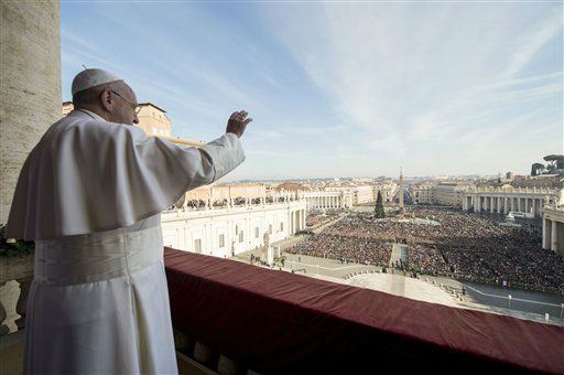 """<div class=""""meta image-caption""""><div class=""""origin-logo origin-image none""""><span>none</span></div><span class=""""caption-text"""">Pope Francis delivers his """"Urbi et Orbi"""" (to the city and to the world) blessing from the central balcony of St. Peter's Basilica at the Vatican.  (AP Photo/ FP)</span></div>"""