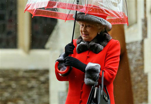 "<div class=""meta image-caption""><div class=""origin-logo origin-image none""><span>none</span></div><span class=""caption-text"">Britain's Queen Elizabeth II shelters under an umbrella after attending the British royal family's traditional Christmas Day church service in Sandringham, England.   (AP Photo/ Matt Dunham)</span></div>"