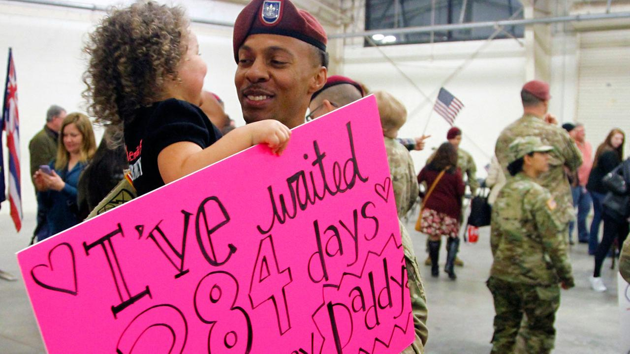 82nd Airborne Division soldiers returned home to Fort Bragg early Tuesday morning