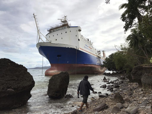 "<div class=""meta image-caption""><div class=""origin-logo origin-image none""><span>none</span></div><span class=""caption-text"">M/V Shuttle RORO 5 on the shore in Mabini, Batangas province, south of Manila. (AP Photo/Bullit Marquez)</span></div>"