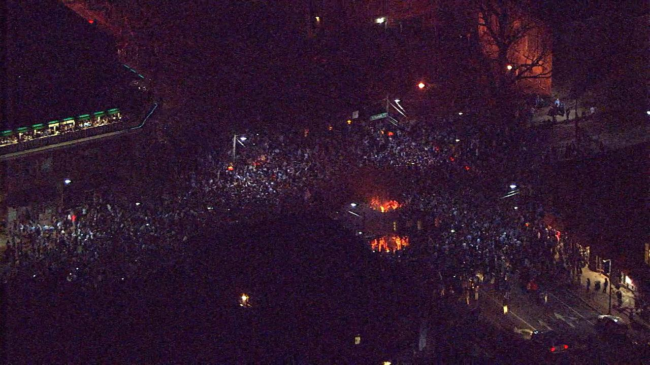 Chopper 11HD over Franklin Street as fans stormed the streets after a win over Duke