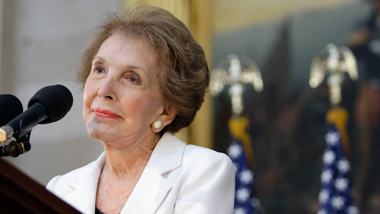 Former first lady Nancy Reagan speaks in the Capitol Rotunda in Washington, Wednesday, June 3, 2009, during a ceremony to unveil a statue of President Ronald Reagan.