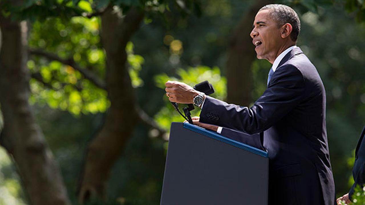 President Barack Obama makes a statement in the Rose Garden of the White House in Washington