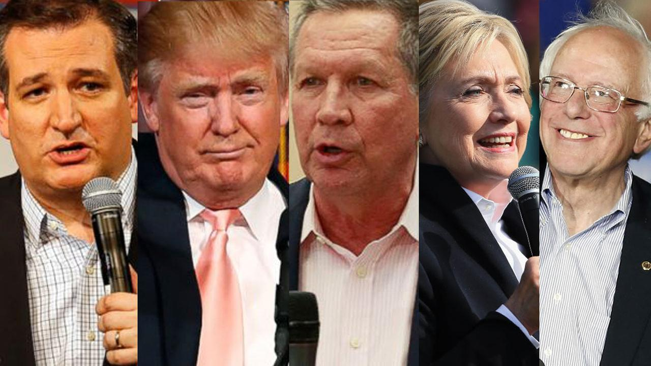 Ted Cruz, Donald Trump, John Kasich, Hillary Clinton and Bernie Sanders