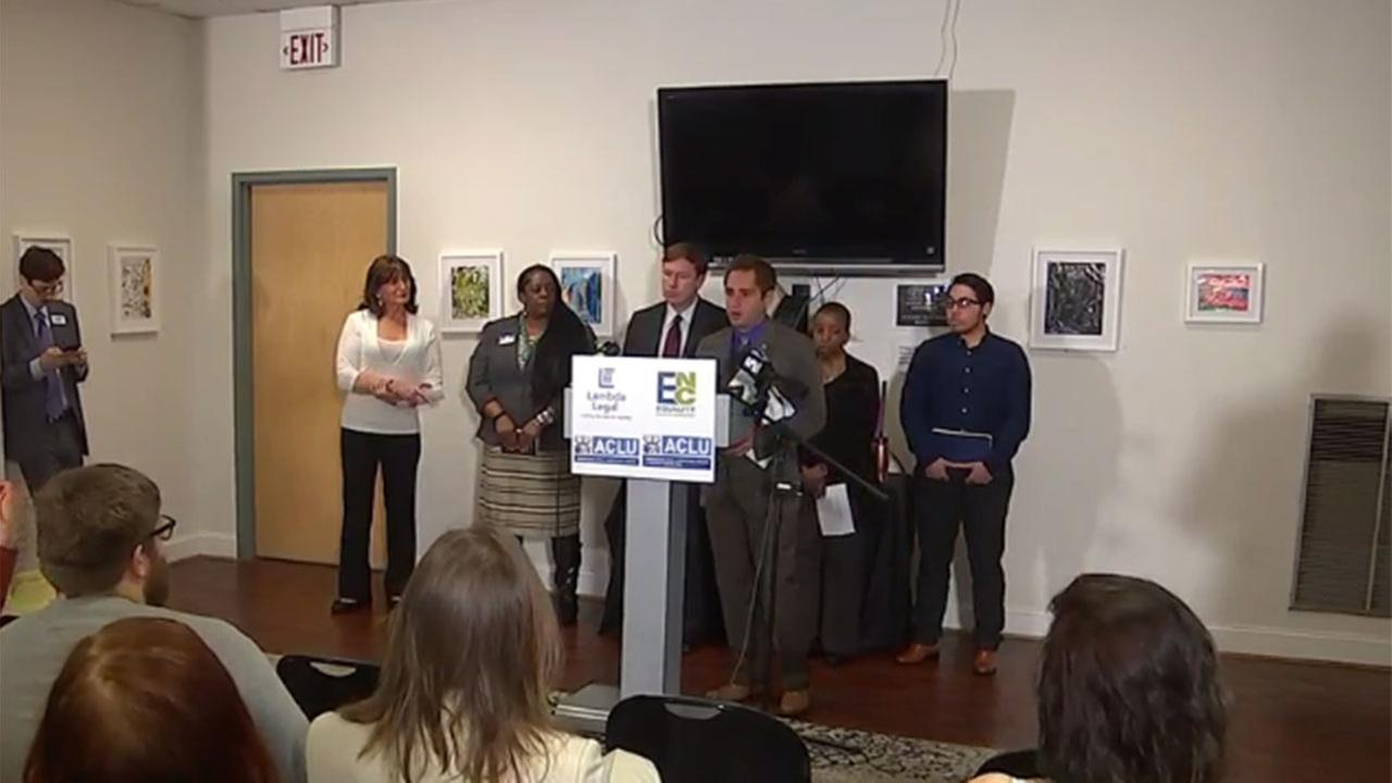Opponents of new North Carolina law blocking Charlotte ordinance hold news conference in Raleigh Monday