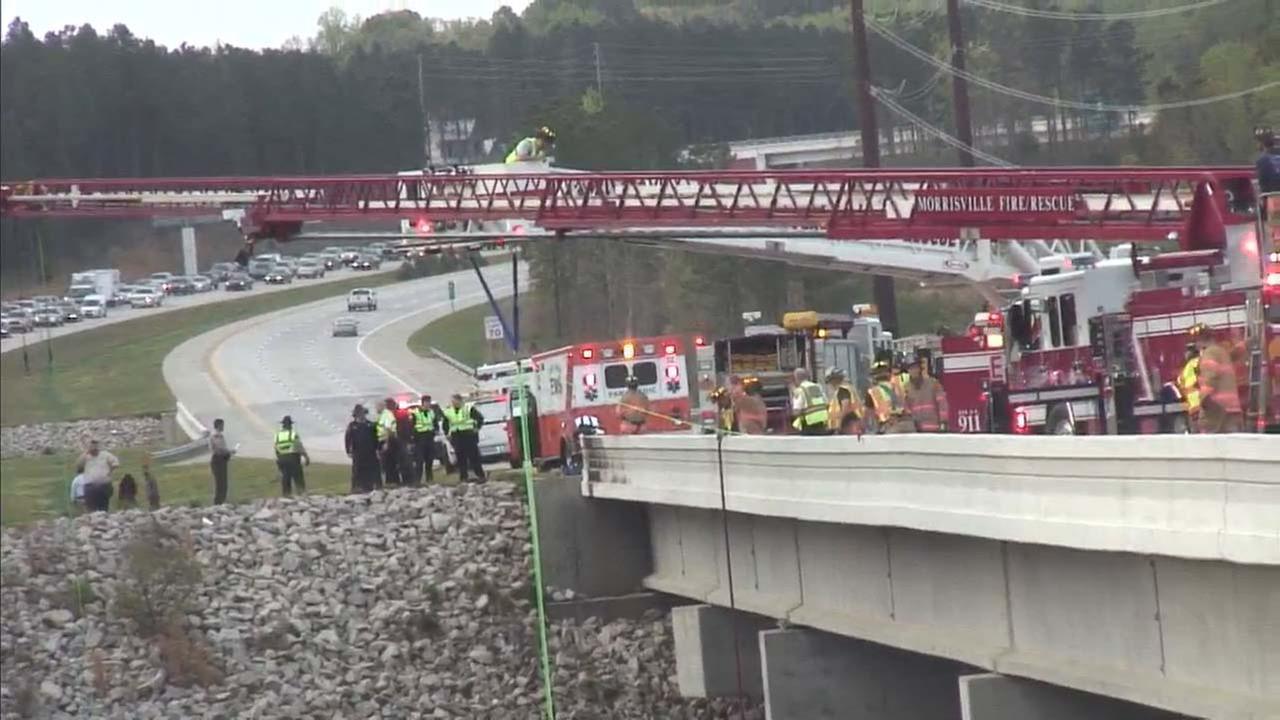 The truck landed in White Oak Creek(WTVD photo/Jim Schumacher)