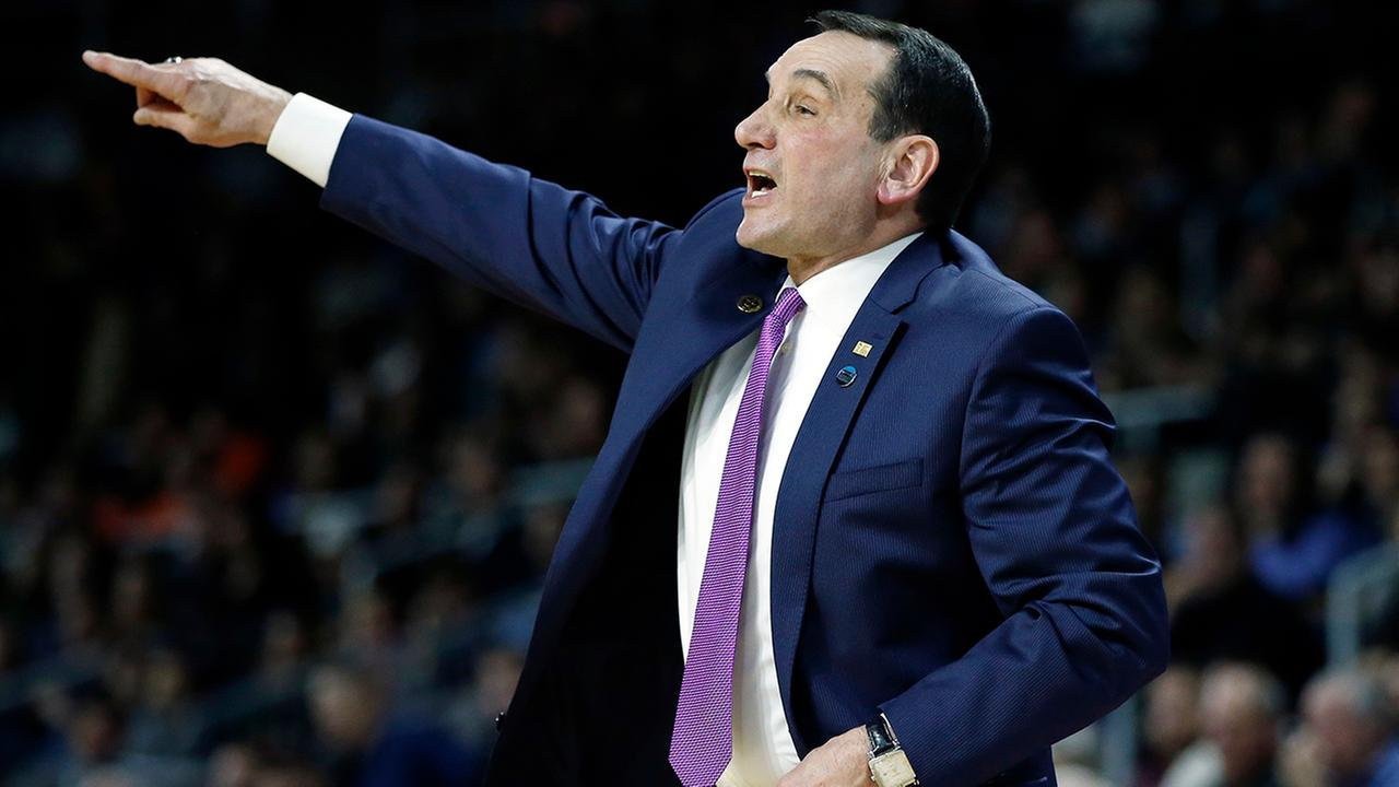 Duke head coach Mike Krzyzewski gestures during the first half of a second-round game against Yale in the NCAA mens college basketball tournament in Providence, R.I.
