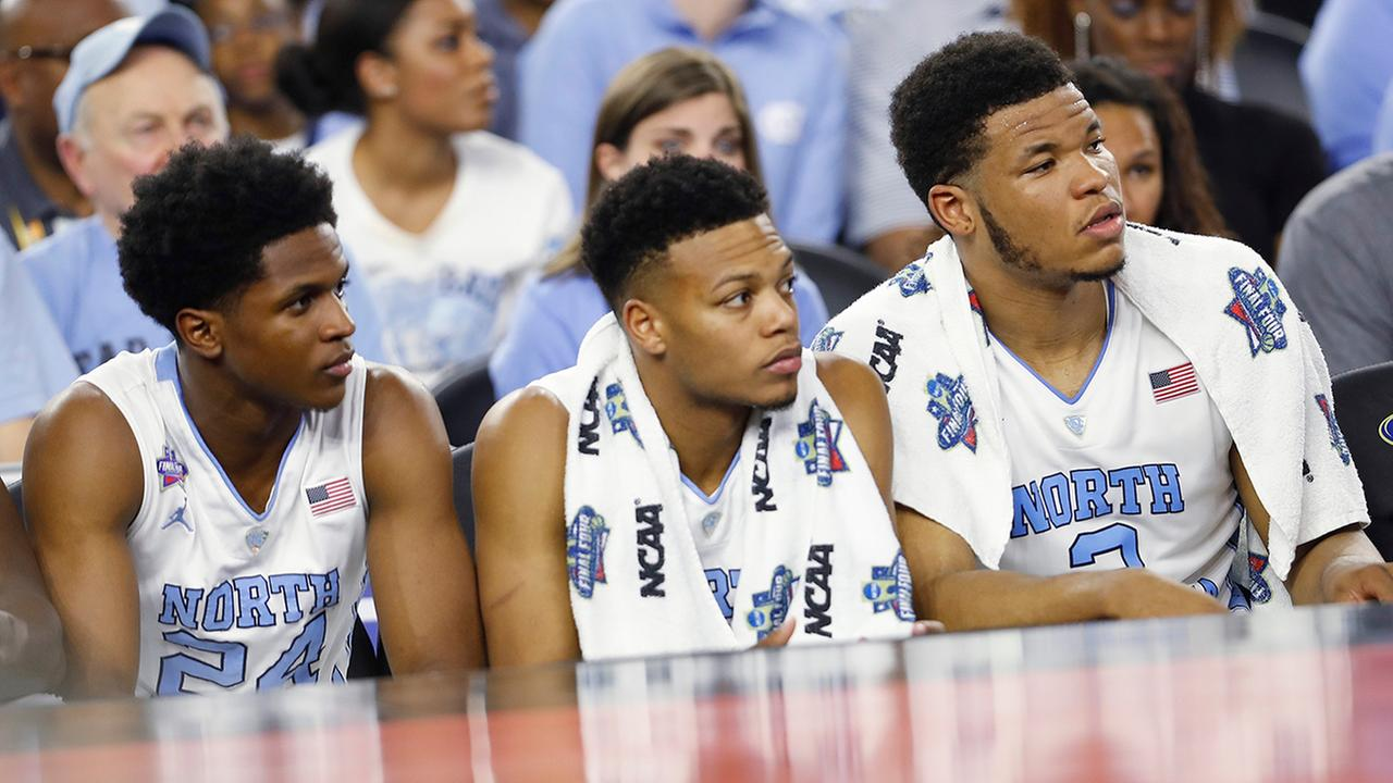 North Carolina players watch play from the bench against Villanova during the second half.David J. Phillip