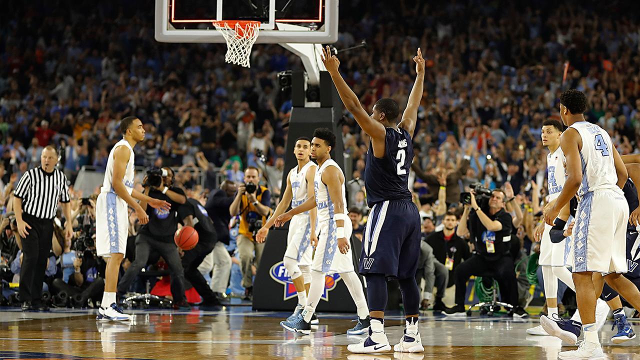 Villanovas Kris Jenkins (2) reacts to his game-winning three point basket.Kiichiro Sato