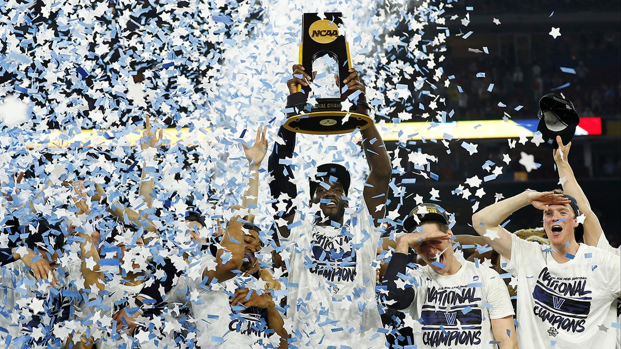 Villanova players celebrate the schools second NCAA title.AP