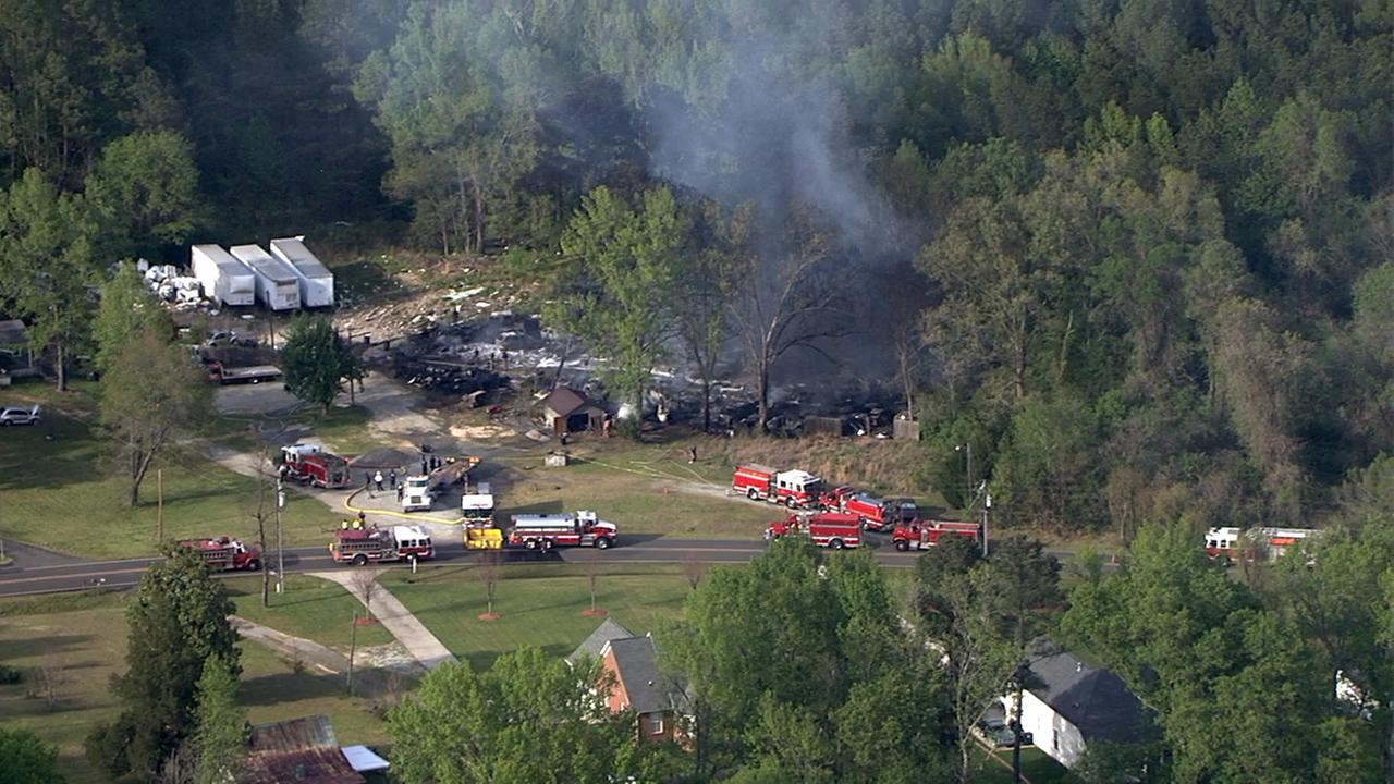 Firefighters work to control the large fire.Chopper 11 HD