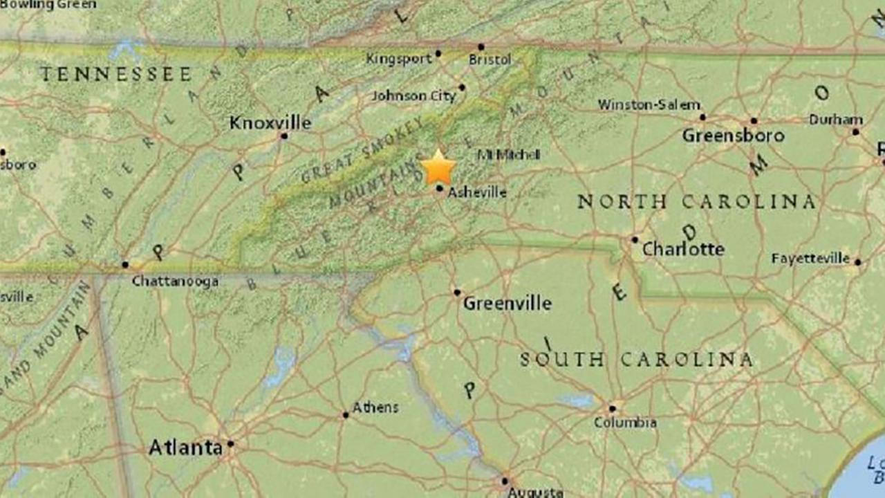 Earthquake reported in western North Carolina