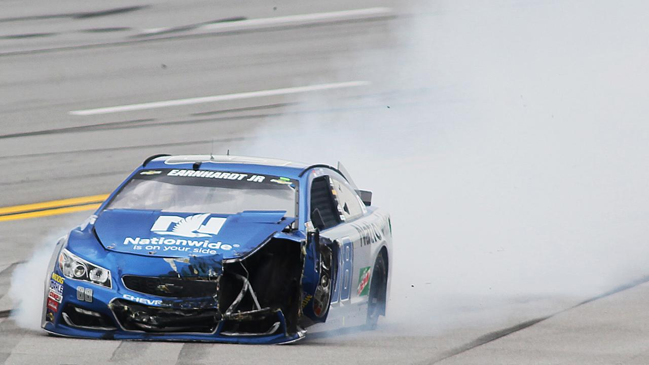 Dale Earnhardt Jr. wrecks near Turn 2 during the NASCAR Talladega auto race at Talladega Superspeedway, Sunday, May 1, 2016, in Talladega, Ala.