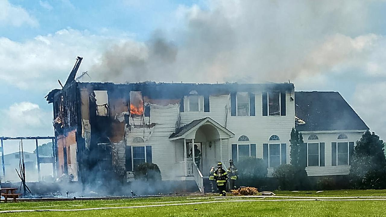 The Mills home during the fire.Courtesy of Shalanda Williams