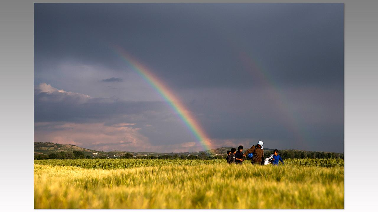 Syrian refugees walk on fields in front of a rainbow at the northern Greek border point of Idomeni, Greece, Saturday, May 7.Petros Giannakouris