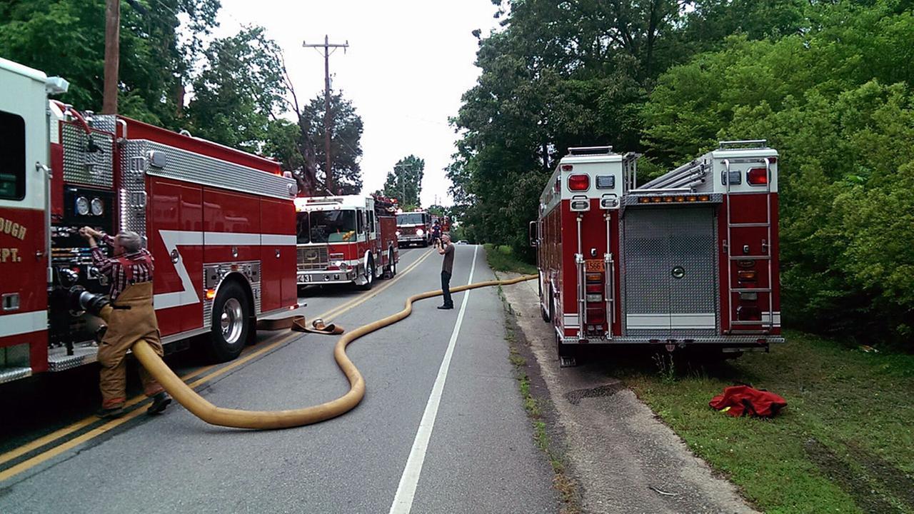 Firefighters battle a massive fire in Hillsborough.Courtesy of Scott Paisley