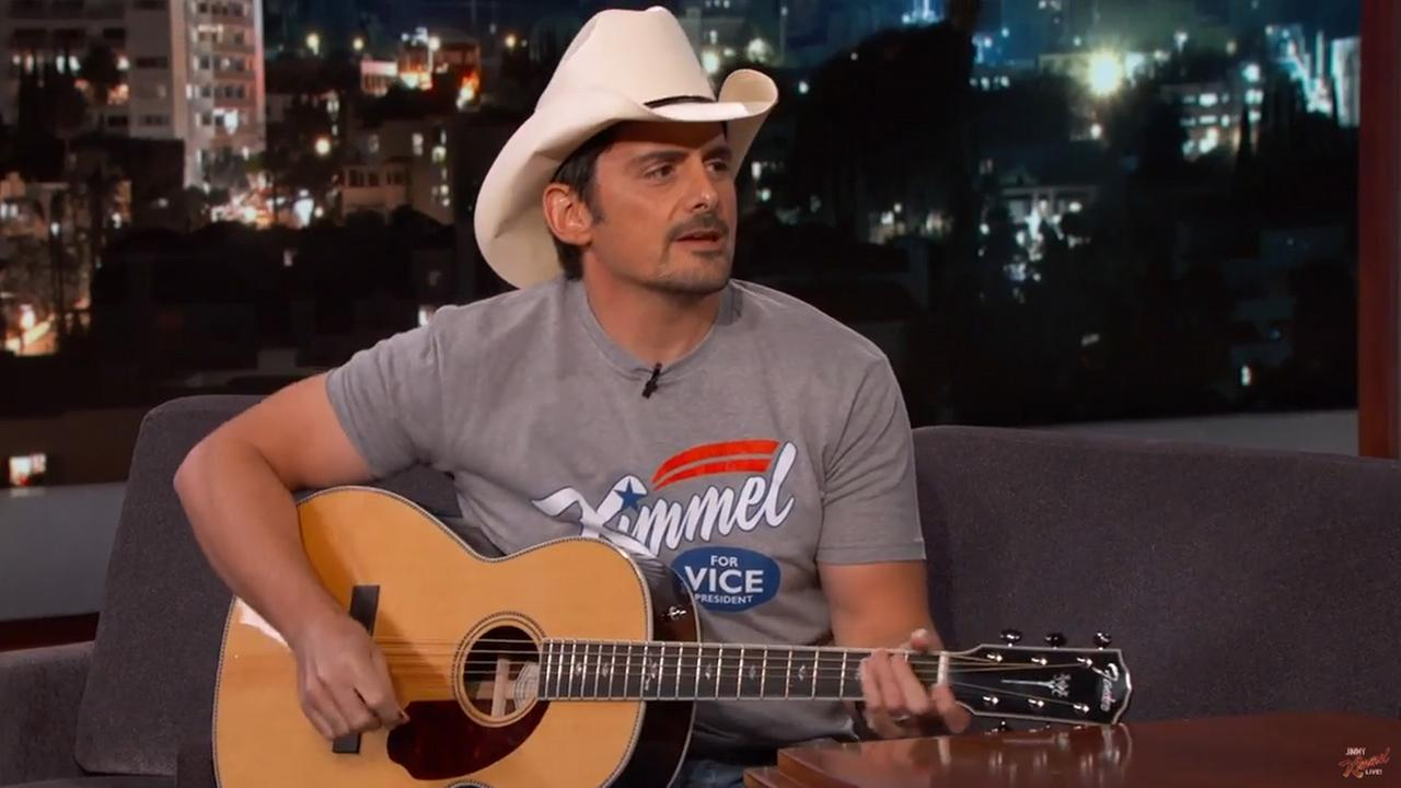 Country music star Brad Paisley appeared on Jimmy Kimmel Live on Tuesday, May 25, 2016.