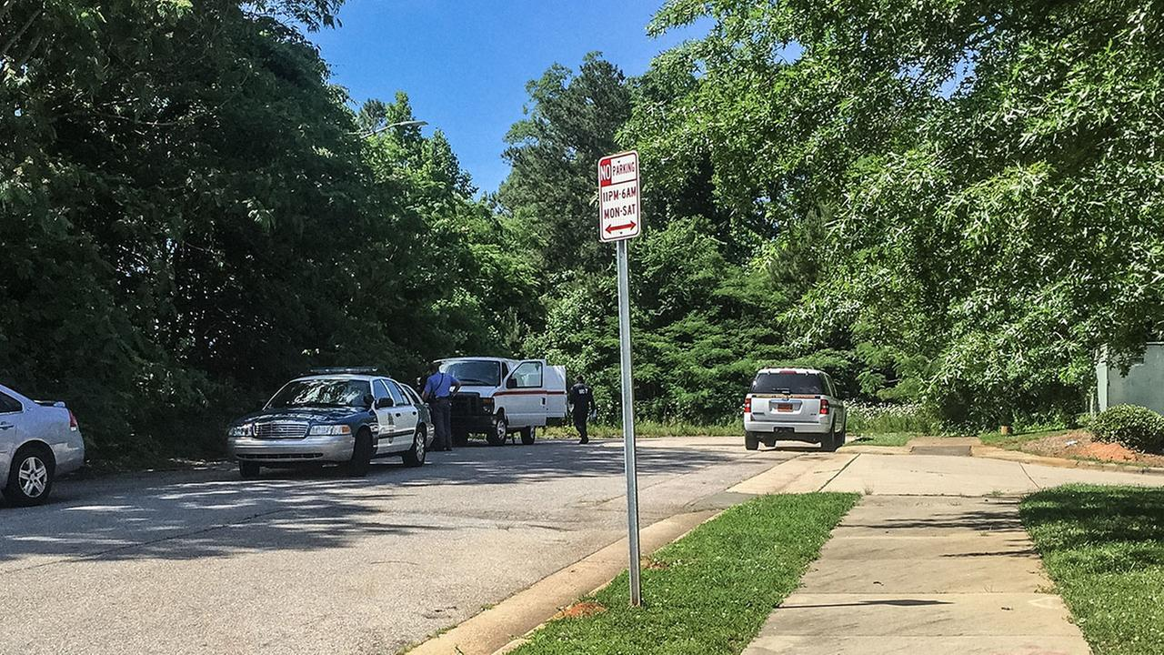 Photo from the scene near where a body was found in Raleigh
