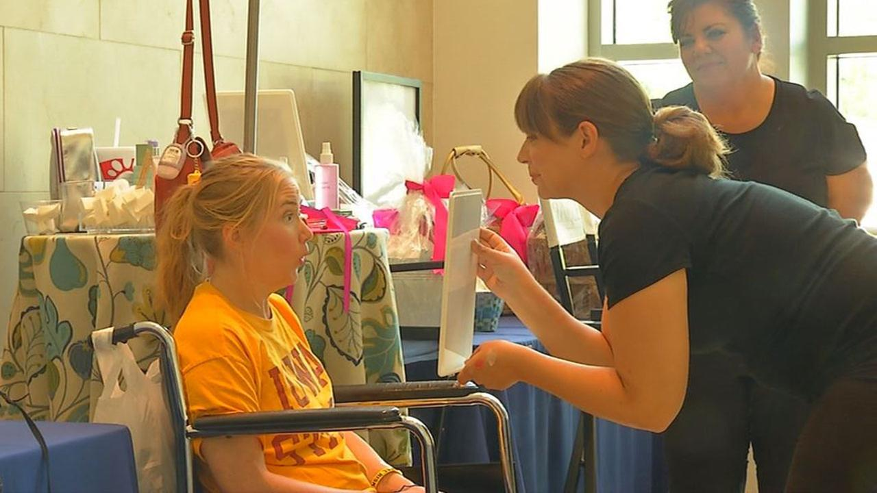 Cancer patients and their families being pampered at Duke Cancer Institutes Supportive Care and Survivorship Day.